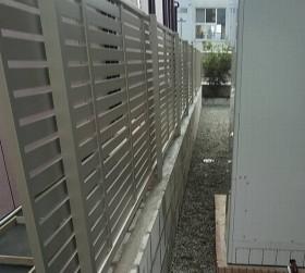 工事中フェンス取り付け