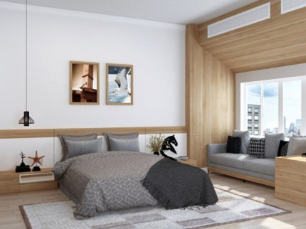 窓のある寝室